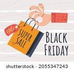 black friday shopping bag sale... | Shutterstock .eps vector #2055347243