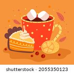 autumn hot drink with piece of... | Shutterstock .eps vector #2055350123