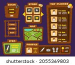 ui game elements. cartoon wood...