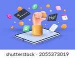 cryptocurrency transaction and... | Shutterstock .eps vector #2055373019