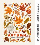 a collection of autumn natural... | Shutterstock .eps vector #2055461180