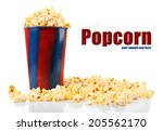 popcorn isolated on white | Shutterstock . vector #205562170