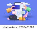 m commerce 3d illustration ...   Shutterstock .eps vector #2055631283
