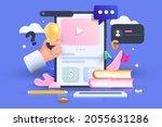 online education  e learning...   Shutterstock .eps vector #2055631286
