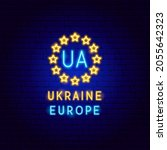 ukraine europe neon label.... | Shutterstock .eps vector #2055642323