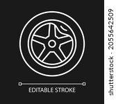 Wheel Damage White Linear Icon...