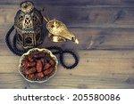 dates  arabian lantern and...   Shutterstock . vector #205580086