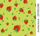 vector seamless strawberry... | Shutterstock .eps vector #205581388