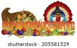 happy thanksgiving text... | Shutterstock . vector #205581529