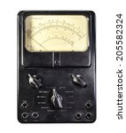 Small photo of Old ammeter isolated on a white background