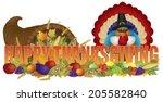 happy thanksgiving text... | Shutterstock .eps vector #205582840