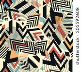 seamless vector geometric... | Shutterstock .eps vector #205592608