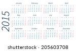 2015 year vector calendar on... | Shutterstock .eps vector #205603708