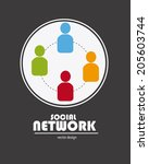 social network design over gray ... | Shutterstock .eps vector #205603744