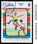 cuba   circa 1986  a stamp...   Shutterstock . vector #205605220