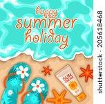 vector happy summer background... | Shutterstock .eps vector #205618468
