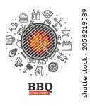 bbq party invitation concept...   Shutterstock .eps vector #2056219589