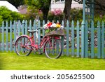 Stylish Elegant Old Red Bicycl...