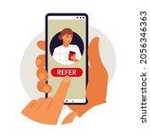 referral program concept. hand...