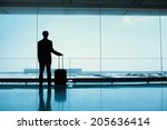silhouette of passenger waiting ... | Shutterstock . vector #205636414