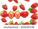 red ripe strawberries  isolated ... | Shutterstock . vector #205639138