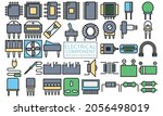 electronic lineal icons set....