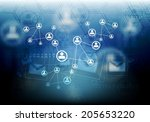 concept connect team background.... | Shutterstock .eps vector #205653220