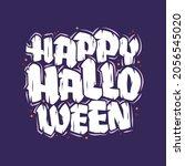 happy halloween text  halloween ... | Shutterstock .eps vector #2056545020
