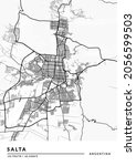 Salta, Argentina City Map - Salta City White Map Poster Wall Art Home Decor Ready to Printable