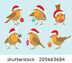 Set Of Robins In Santa Hats...