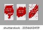 set of red ink brush stroke on... | Shutterstock .eps vector #2056643459