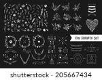 hand drawn vintage floral... | Shutterstock .eps vector #205667434
