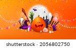 happy halloween background ... | Shutterstock .eps vector #2056802750