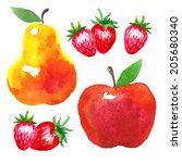 vector watercolor set of fruits....   Shutterstock .eps vector #205680340
