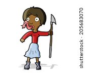 cartoon woman with spear... | Shutterstock . vector #205683070