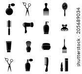 set hair salon icins | Shutterstock .eps vector #205689034