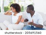 attractive couple having an... | Shutterstock . vector #205691560