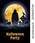halloween party illustration ...   Shutterstock .eps vector #205693744