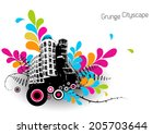 abstract illustration with city. | Shutterstock .eps vector #205703644