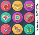 set of jewelry flat icons.... | Shutterstock .eps vector #205711774