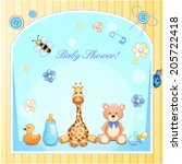 baby shower card with toys.  | Shutterstock .eps vector #205722418