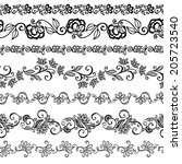 set of decorative floral... | Shutterstock . vector #205723540