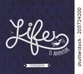 Nautical Typography Badge. Lis...