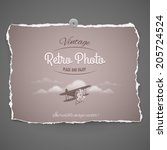 Vintage Airplane Ilustration on peace of old photo paper,part of Vintage Retro Photo Series - stock vector