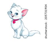 Stock vector vector happy cute fun white kitten cartoon smiling character cat with red pink heart illustration 205731904