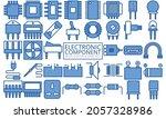 electronic blue color icons set....