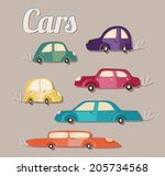 the set of cute colorful cars. | Shutterstock .eps vector #205734568