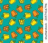 doodle pepper seamless pattern. ...   Shutterstock .eps vector #2057416796