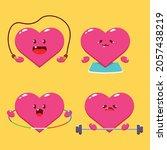 cute heart doing sport vector... | Shutterstock .eps vector #2057438219