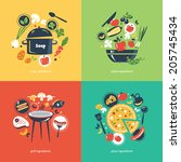cooking collection compositsion | Shutterstock .eps vector #205745434